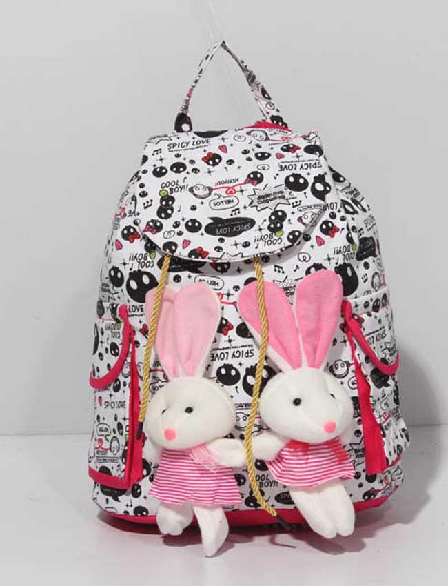 Buy Women Satchel Teddy Bear Black & White Printed Backpack U935